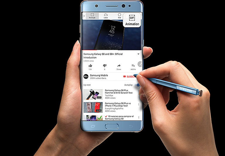 Left Hand clutching the Galaxy Note FE Black Onyx with S Pen making GIF Animation from YouTube