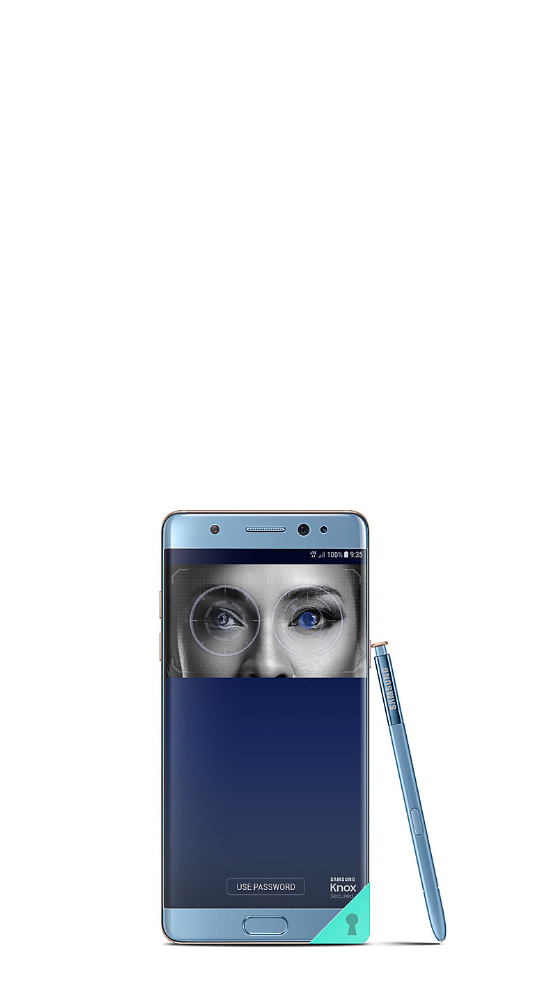 Iris scanner on the Galaxy Note FE Coral Blue propped up with S Pen leaning on the side