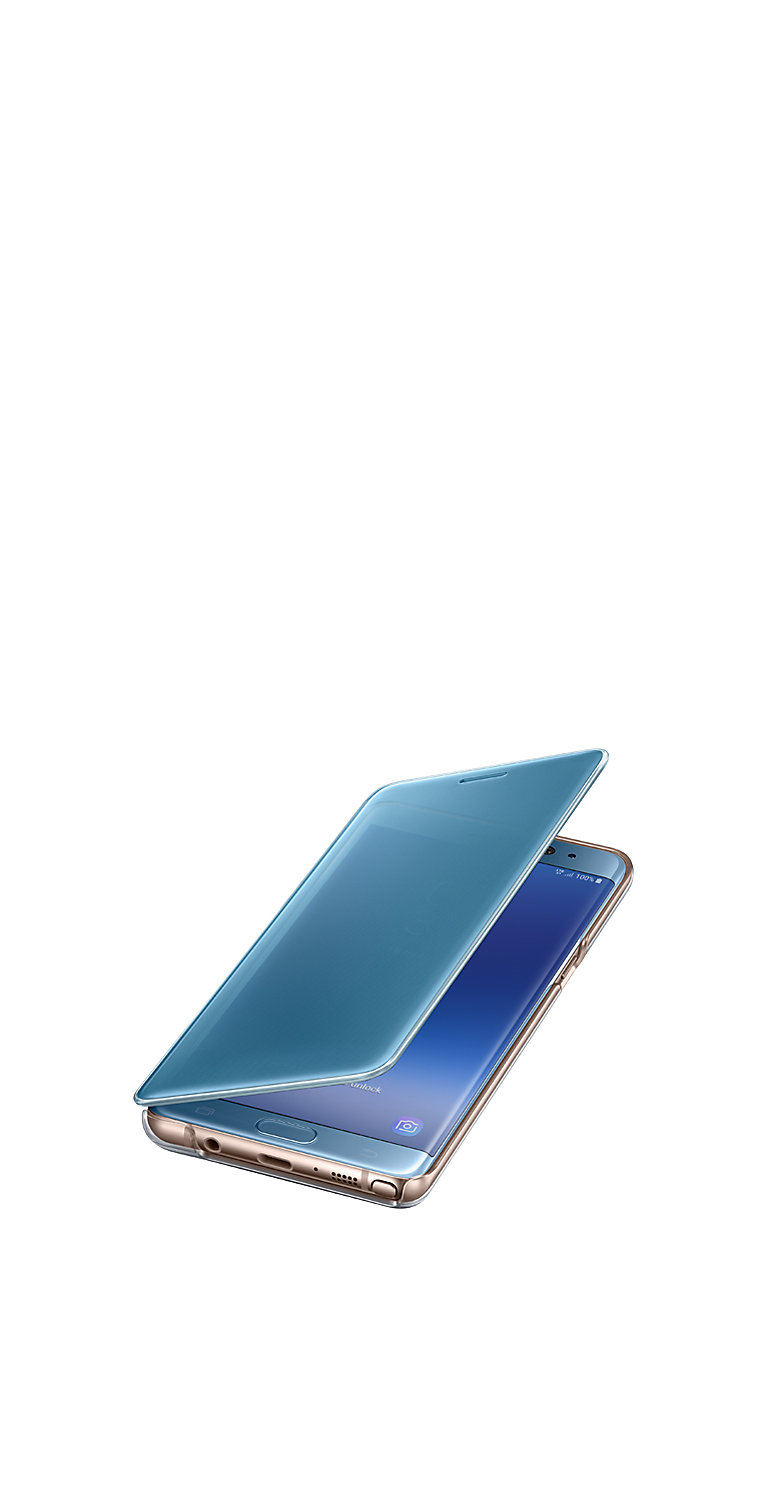Galaxy Note FE Blue Coral with matching Clear View Cover partially open