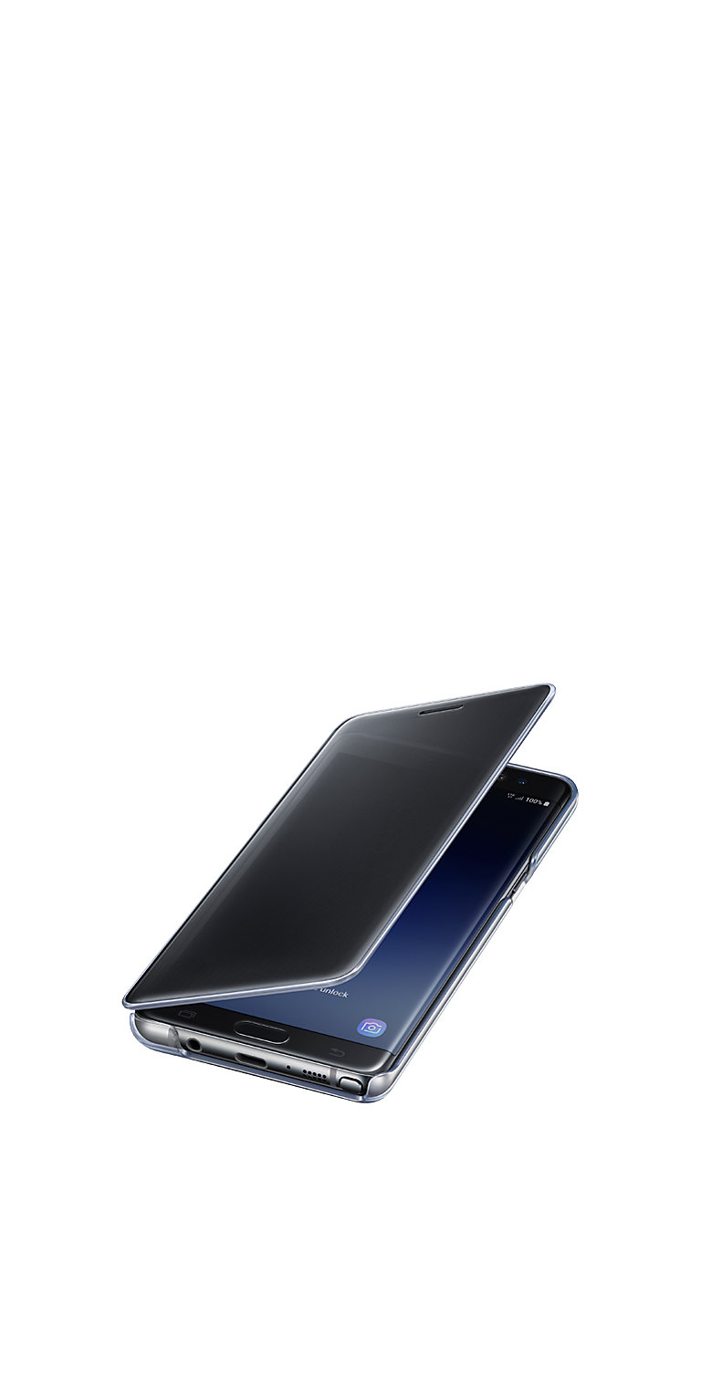 Galaxy Note FE Black Onyx with matching Clear View Cover partially open