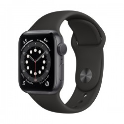 Apple Watch Series 6 (GPS, 44mm, Space Gray Aluminum Case, Black Sport Band)