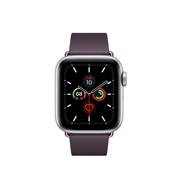 Apple Watch Series 5 (GPS, 40mm, Space Gray Aluminum Case, Leather Band)-1