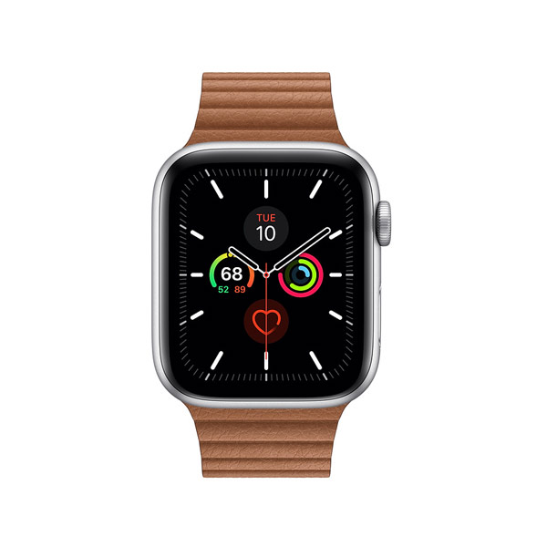 Apple Watch Series 5 (GPS, 44mm, Space Gray Aluminum Case, Leather Band)-1