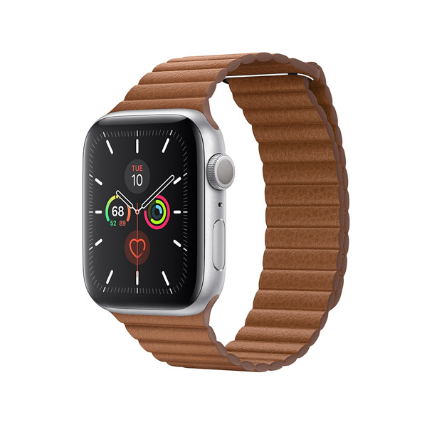 Apple Watch Series 5 (GPS, 44mm, Space Gray Aluminum Case, Leather Band)-2